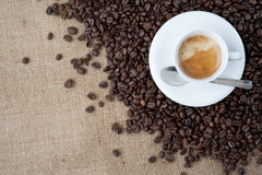 Espresso cup and Roasted Coffe Stock Photos