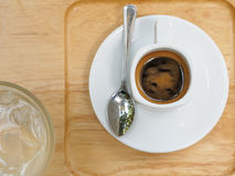 Espresso in a cup. Top view. Royalty Free Stock Photography