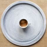 Espresso cup on tray. Espresso cup on blue tray. Free space for text Stock Photos