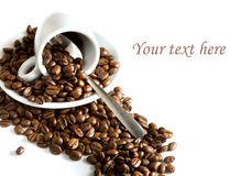 Espresso Cup With Coffee Beans Royalty Free Stock Photography