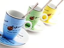 Espresso Cups Row w/ Spoons Stock Photos