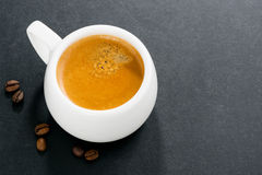 Espresso on a dark background and space for your text, top view Royalty Free Stock Photography