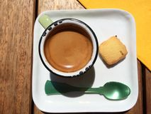 Espresso of the day. Top view of single espresso on wooden Stock Photography