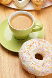 Espresso with donut Royalty Free Stock Image