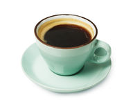 Espresso eller americano, kopp för svart kaffe över på vit bakgrund Fotografering för Bildbyråer