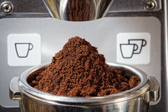 Espresso, feshly ground coffe beans in portafilter Stock Image