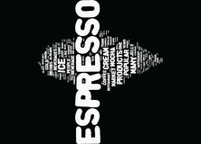 Espresso Flavored Products Text Background  Word Cloud Concept Royalty Free Stock Photos