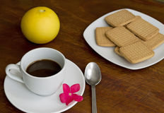 Espresso with flower Stock Photo