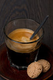 Espresso in a glass and amaretti almond cookies Stock Photography