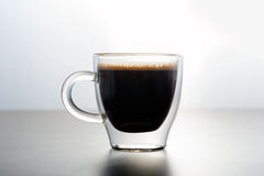 Espresso in glass cup Royalty Free Stock Photography