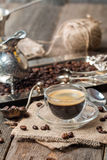Espresso glass cup with coffee bean Stock Photos