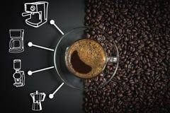 Espresso and coffee maker icon. Espresso in a glass on wooden table, black coffee and coffee maker icon, americano, coffee cup Stock Image