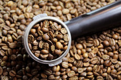 Espresso handle. An espresso handle filled with ground coffee Stock Image