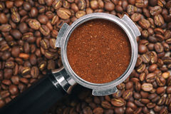 Espresso handle filled with ground coffee Royalty Free Stock Image