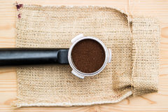 Espresso handle on a sack Royalty Free Stock Image