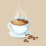 Espresso hot drinks. Hot coffee with coffee bean. Espresso hot drinks icon. Cap of hot espresso with coffee bean vector illustration. Breakfast drinks. Espresso Stock Photography