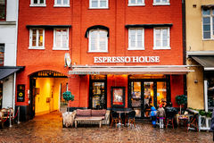 Espresso house in old town center during the Christmas season in Malmö in Sweden. MALMO, SWEDEN - DECEMBER 31, 2014: Espresso house in old town center during Stock Photography