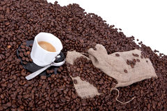 Espresso and its coffee beans Stock Photo
