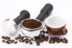 espresso kawę portafilter uziemienia Fotografia Stock