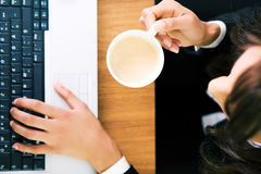 Espresso at Laptop Stock Photos