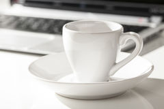 Espresso and laptop Royalty Free Stock Images