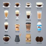 Espresso, latte, cappuccino in glasses and mugs. Coffee types for coffee house menu. Flat vector icons set. Drink beverage, morning caffeine aroma illustration stock illustration
