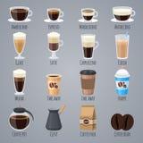 Espresso, latte, cappuccino in glazen en mokken Koffietypes voor het menu van het koffiehuis Vlakke vector geplaatste pictogramme stock illustratie