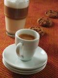 Espresso and Latte Macchiato. Dolce far niente royalty free stock image