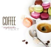 Espresso and macaroons stock photo