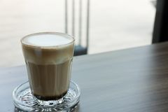 Espresso macchiato coffee, hot mocha drink in glass Royalty Free Stock Photography