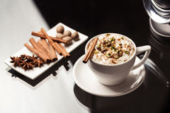 Espresso macchiato with spices Stock Photography