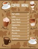 Espresso machiato latte americano mocha cappuccino set coffee menu cup drinks vector illustration