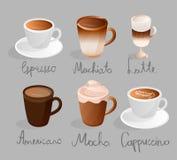 Espresso machiato Latte americano Mokkacappuccinosatzkaffeemenü-Schalengetränke lizenzfreie abbildung