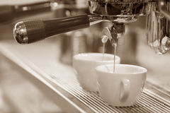 Espresso machine brewing a coffee stock photos