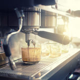 Espresso machine brewing a coffee Royalty Free Stock Photography