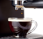 Espresso machine brewing a coffee espresso Royalty Free Stock Photo