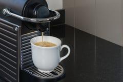 Espresso machine brewing a coffee espresso Stock Photo