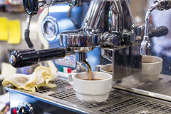 Espresso machine brewing a coffee Royalty Free Stock Photo