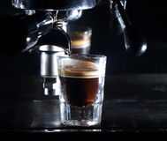 Espresso machine brewing a coffee Royalty Free Stock Image