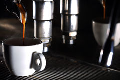 Espresso machine brewing a coffee Royalty Free Stock Images