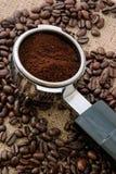 Espresso machine flter holder stock image