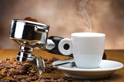 An espresso machine group head Stock Photography