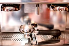 Espresso machine with tools and accessories as tamper, piston Stock Photos