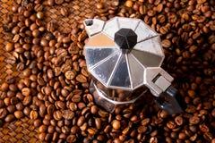 Espresso Maker. On Coffee bean Stock Photos