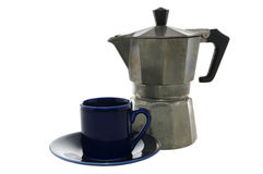 Espresso maker and cup with clipping path Royalty Free Stock Image