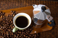 Espresso Maker. And a cup of coffee Stock Photography