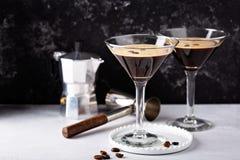Espresso martini in two glasses. Coffee cocktail concept stock photos