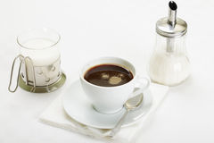 Espresso with milk and sugar Stock Photo