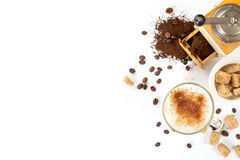 Espresso, milk, sugar. space for text. Coffee composition on a white background. Espresso, milk, sugar. space for text Royalty Free Stock Photo