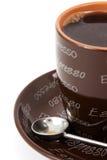 Espresso mug. Brown espresso mug with a white background Royalty Free Stock Image